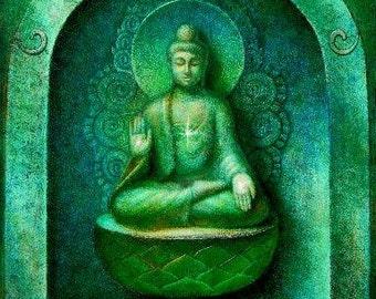 Green Buddha spiritual art meditation Zen Buddhist Buddhism print of painting by Sue Halstenberg