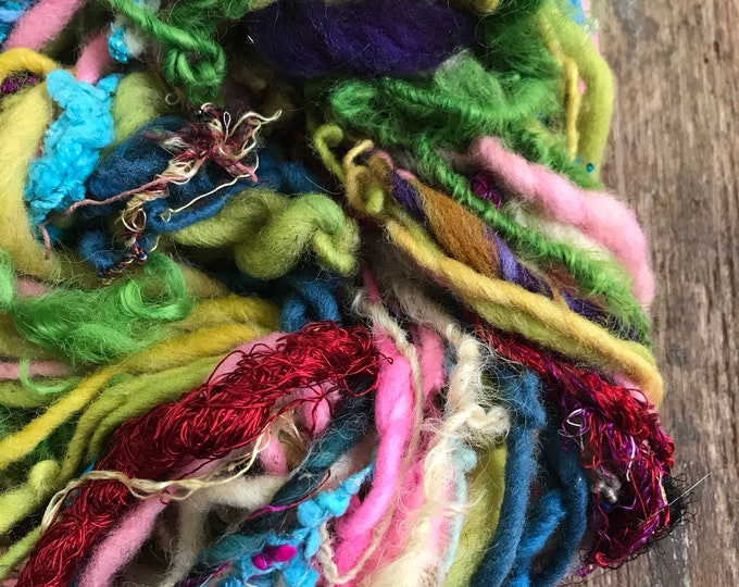Somebody to Love -  wild art yarn, 54 yards, multicolored textured art yarn, handspun, bulky wild yarn, weaving yarn