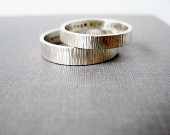 Personalized Couple Rings 3mm and 4mm - His n' Hers Celebration Rings, Wedding Rings, Promise Rings, Best Friend Rings