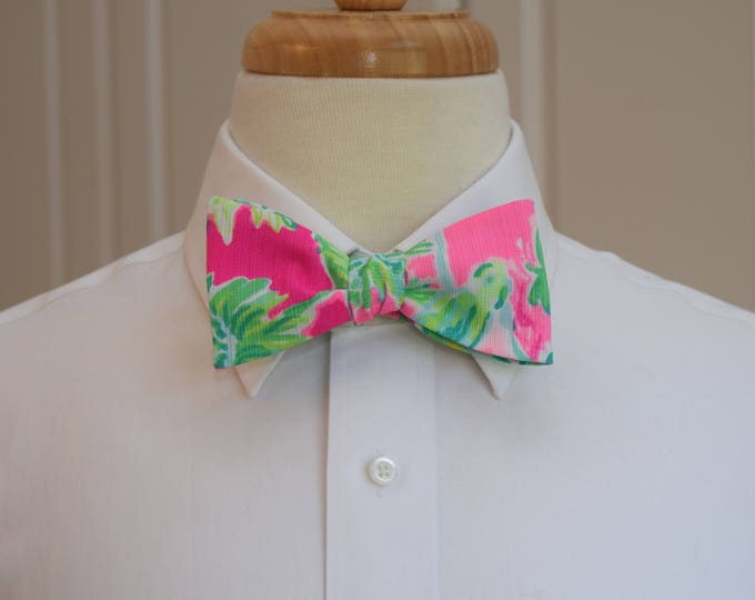 Men's Bow Tie, Catty Shack neon pink/lime green jungle Lilly print, groomsmen/groom bow tie, wedding bow tie, prom bow tie, tux accessory