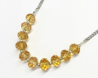 Champagne Glass Beaded Necklace