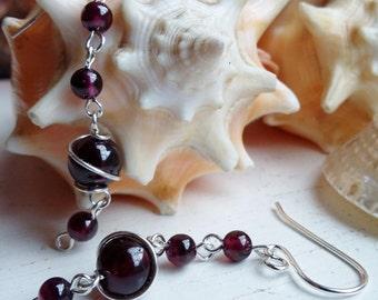 Sterling Silver Dark Red Garnet Wire Wrapped Drop Dangle Earrings