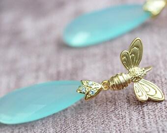 Inspirational, Womens Gift, Blue Drop Earrings, Drop Earrings, Crystal Drop, Crystal Earrings, Blue Crystal Earrings, Long Blue Earrings