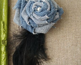 Denim flower and feather brooch