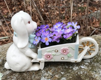 "Lenox Bunny with Flowers Wheelbarrow  9"" long Lenox Rabbit with Flower Cart"
