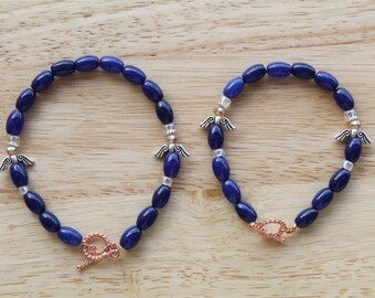 Beaded Bracelet / Cobalt Blue Angels / Handmade Jewelry