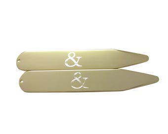 Gold Toned Etched And Ampersand Sign Collar Stays