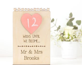 Engagement gift a Wedding Countdown chalk board sign