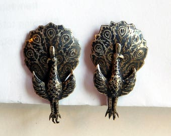 Vintage Sterling Niello Siam Silver Screwback Peacock Earrings - Sterling Silver Earrings Thailand - 1940s Siam Sterling - Bird Earrings