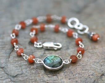 Sunstone, Labradorite Gemstone Sterling Silver Wire Wrapped Bracelet, Gemstone Link Bracelet, Minimalist Jewelry, Stacking Bracelet