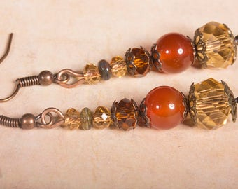 Shades of sunset earrings with Carnelian beads and Swarovski crystals