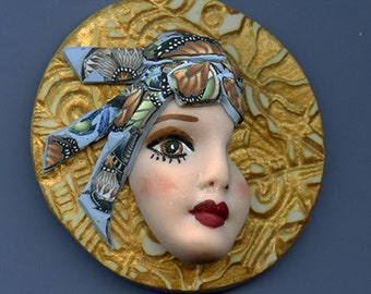 Face cab  Caned hat OOAK Polymer clay Detailed Profile  Face Gold  Abstract ANCP 1