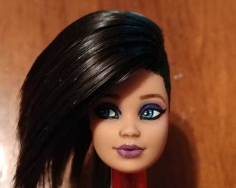 Repainted/rerooted/flocked Barbie (HEAD ONLY), Steffie face mold, 1979 hispanic version
