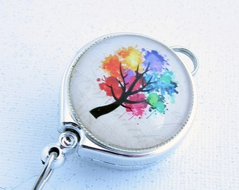 Multicolor Tree Lanyard Badge Reel with Belt Clip - 297