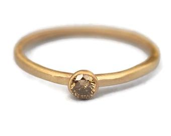Champagne  Diamond, Gold  Ring, Engagement Diamond Ring, 14K Gold Ring Tula Jewelry