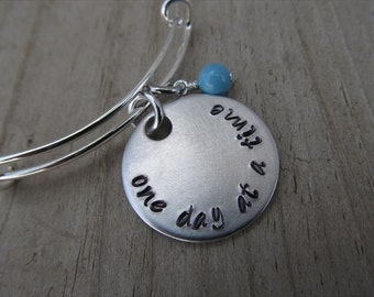 """One Day at a Time Inspirational Bracelet- """"one day at a time"""" with an accent bead of your choice"""
