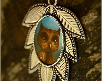 Owl leaf necklace - wearable art - illustrated jewelry