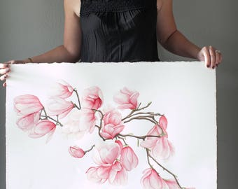 "Pink Magnolia Blossoms - Original Floral Watercolor Painting - 22x30"""