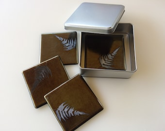 Fused glass coasters, set of four drinks coasters with fern leaf design