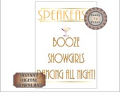 White Gold Speakeasy Sign Printable Digital File Prohibition 1920s Gatsby Era Bachelorette Bachelor Party Door Sign Showgirls Booze Dancing