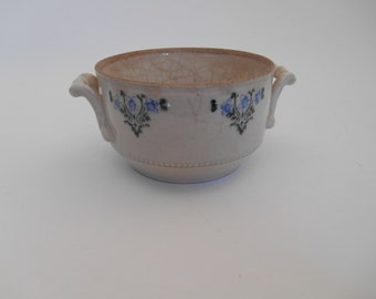 Antique French earthenware sugar bowl