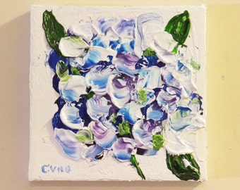 Hydrangea Blue Impasto  Acrylic 6 x 6 -Original- Impressionsm-Home Decor-Floral-Wedding Gift-Floral-Spring-Affordable