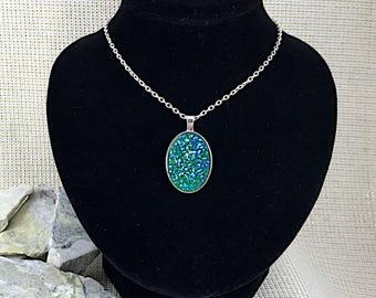Emerald Green Druzy Necklace - Druzy - St Patricks Day Necklace - Oval Necklace - St Patricks Day Jewelry - Irish Necklace - Irish Jewelry -