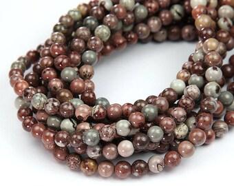 Natural Artistic Jasper Beads, 6mm Round - 15 inch Strand - eGR-JA183-6