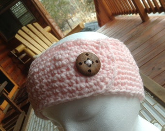 Pink Headband Ear Warmer Hand Crochet with a Vintage Wooden Button Accent