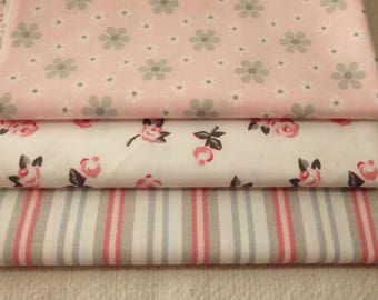 SET OF 3 COUPONS FOR YOUR PATCHWORK FABRICS PINK AND GRAY