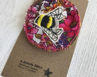 Bumble bee textile brooch