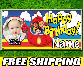 Little Einsteins Personalized Printed Name and Picture Vinyl Banner Happy Birthday Banner