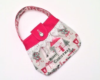 Girls Christmas Purse, Christmas Outfit, Red Purse, Red and Green, Small Purse, Tween Purse, Little Girls Purse, Dress Up, Church Purse