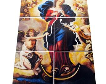 Virgin Mary untier of Knots - catholic tile art - mosaic - religious wall art  perfect catholic gift - Madonna - Virgin Mary Undoer of Knots