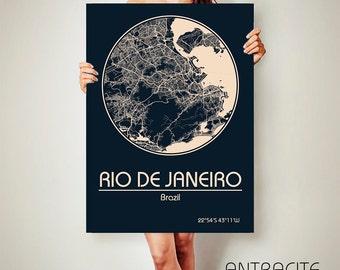 RIO de JANEIRO Brazil CANVAS Map Rio de Janeiro Brazil Poster City Map Rio de Janeiro Brazil Art Print Rio de Janeiro Brazil