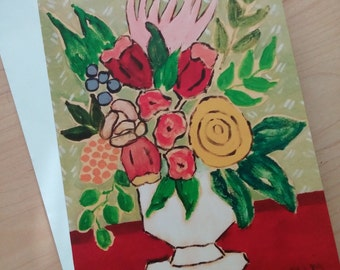 4 Original greeting cards Four 5x7 Floral greeting cards Folk Art 5x7 Greeeting cards from paintings