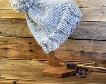 Adult light blue hand knit pom hat