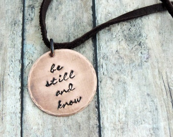 Be Still and Know Necklace - Christian - Christian Jewelry - Scripture Necklace - Religious Jewelry - Bible Verse Jewelry - Psalm 46:10