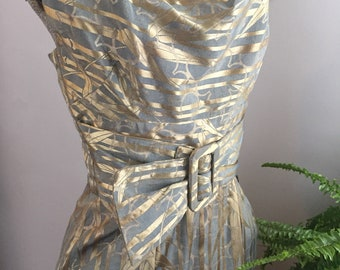 1950's Alfred Shaheen Silk Brocade Wiggle Dress