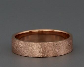 Solid rose gold men's wedding Band | Handmade 14k solid rose gold rustic men's wedding ring | 3mm 4mm 5mm 6mm 7mm