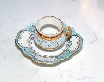 Delicate Lacy Demitasse Teacup With Gold