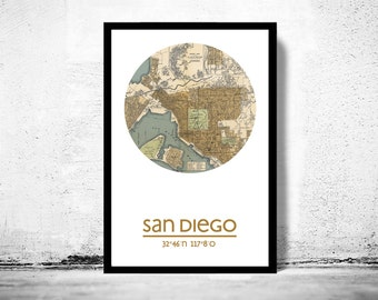 SAN DIEGO - city poster - city map poster print