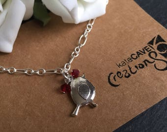 Robin bracelet, Christmas robin gift, festive jewellery, Stocking Filler.