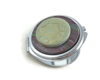Compact mirror with polymer clay embellishments green and marbled