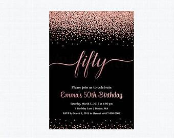 50th Birthday Invitation, Rose Gold 40th Birthday Invitation,   111 Printable