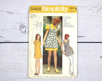 "Simplicity 5465 Size 10 Bust 32.5"" How to Sew Misses' Smock and Mini-Dress Sewing Pattern- 1972- Uncut- 70s Style"