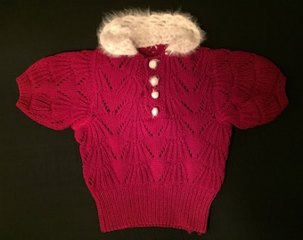 Burgundy red 1930s cropped knit sweater | homemade 1930s short sleeved sweater | holiday colors!