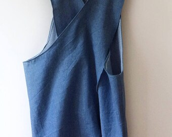 Cross back Denim apron