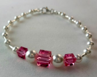 Sterling Silver Rose Swarovski Crystal Bracelet  Child Bracelet Girl Bracelet