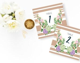 Biarritz Wedding Table Number - Hydrangea Wedding Table Names - Beach Wedding Table - Hydrangea Wedding Invitation - Stripes - Beach Wedding